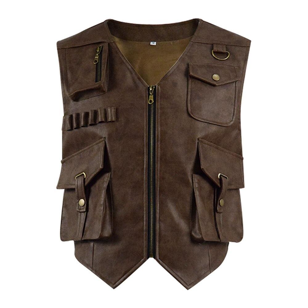 Jurassic World Owen Cosplay Costume PU Vest Men Leather Jacket Coat Halloween Party Cosplay