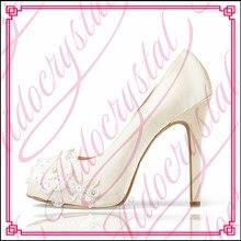 Aidocrystal white lace personal custom high quality peep toe bridal wedding shoes free shipping