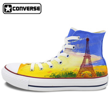 France Eiffel Tower Original Design Custom Converse All Star Men Women Sneakers High Top Hand Painted Shoes Woman Man