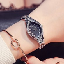 KIMIO Brand High Quality Thin Oval Rhombus Rose Gold Rhinestone Watch Women Crystal Ladies Designer Wrist Watches Dress Quartz