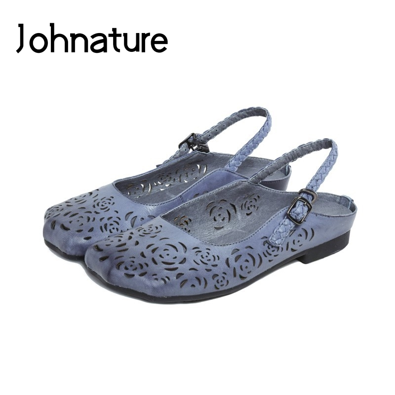 Johnature 2019 New Summer Genuine Leather Round Toe Buckle Strap Sandals Retro Casual Flat With Hollow