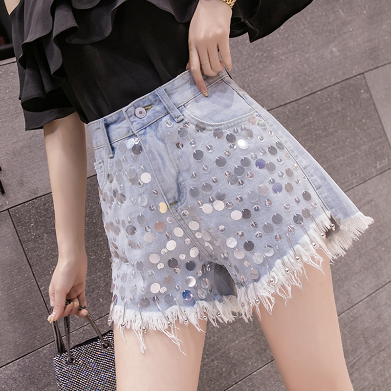 Summer Fashion Lady Womens High Waist Tassel Ripped Hole Sequins Wide Leg Denim Shorts , Female Women Glitters Beads Jean Shorts