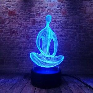 Image 4 - 3D 7変色ヨガled瞑想のアクリル夜の光の寝室イリュージョンランプリビングベッドサイドの装飾クリスマス新年