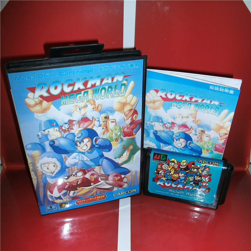 MD games card - RockMan - Mega World Japan Cover with Box and Manual for MD MegaDrive Genesis Video Game Console 16 bit MD card 16 bit sega md video game console 720p out put support put card arcade classic collection
