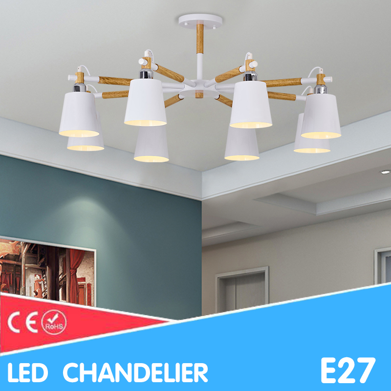 Nordic Chandeliers LED BULB E27 AC 110V 220V color chandelier lighting for Living room dining room Hanging lamp Wooden LustreNordic Chandeliers LED BULB E27 AC 110V 220V color chandelier lighting for Living room dining room Hanging lamp Wooden Lustre