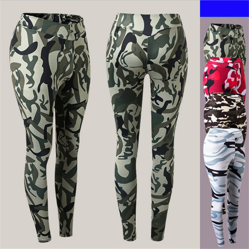 2018 New Women Gym Exercise Yoga Pants Sport Running Trainning Pants Flexible Quick Dry Breathable Camouflage Gym Tight Pants