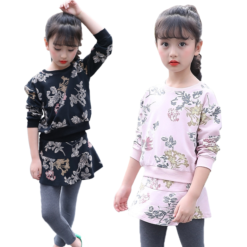 V-TREE Girls Clothing Set Spring Autumn Floral T-shirt + Skirt Leggings For Children Girl Sports Suits 2pcs/set Kids Clothes 2pcs children outfit clothes kids baby girl off shoulder cotton ruffled sleeve tops striped t shirt blue denim jeans sunsuit set