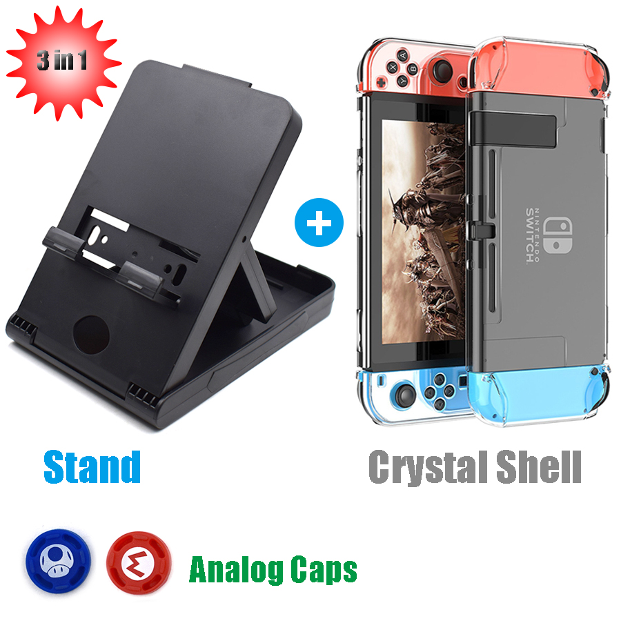 4 in1 Nintend Switch Portable Adjustable Bracket Playstand Holder Stand + Crystal Shell and Thumbstick Caps for Nintendo Switch