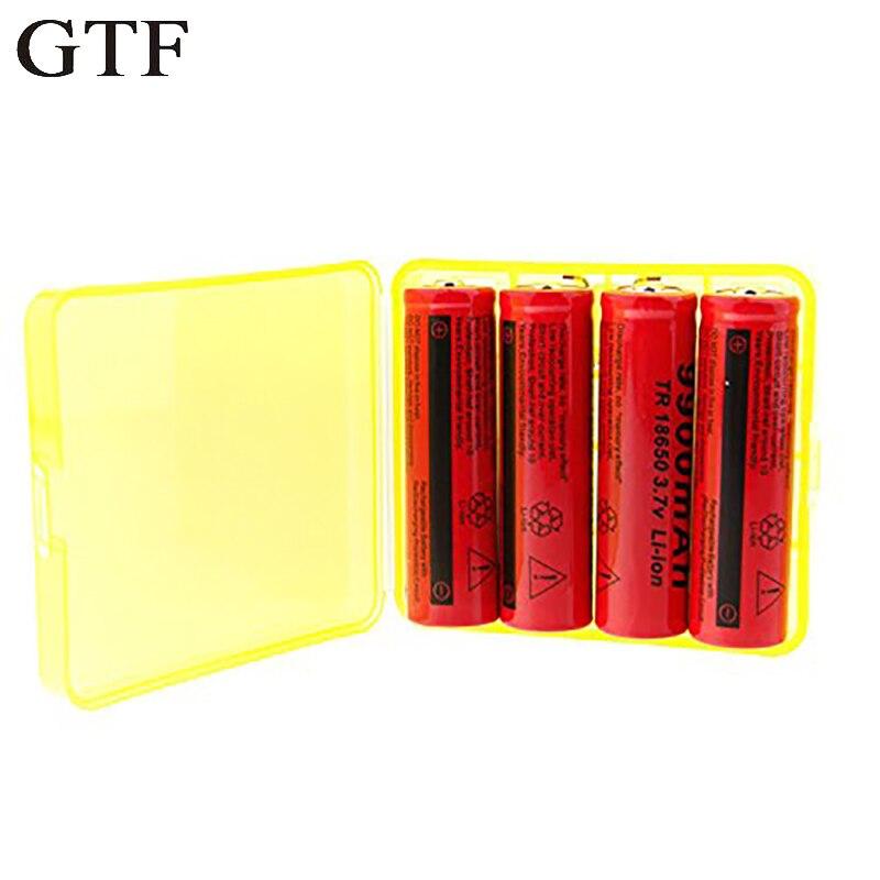 GTF 4 pcs 18650 9900 mAh 3.7 V Li-ion Rechargeable Batterie Pour lampe de Poche Torche avec Holder Box Pour 18650 Batteria cellulaire