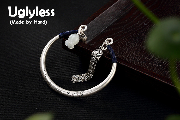 Uglyless S 990 Silver Women Tassels Bangles Luxury Hetian White Jade Magnolia Bangle Handmade Carved Fish Jewelry Flower Bijoux