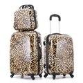 """20 """" 24 """" mulheres de venda quente leopardo de conjuntos de bagagem do trole ABS mala de alta qualidade"""