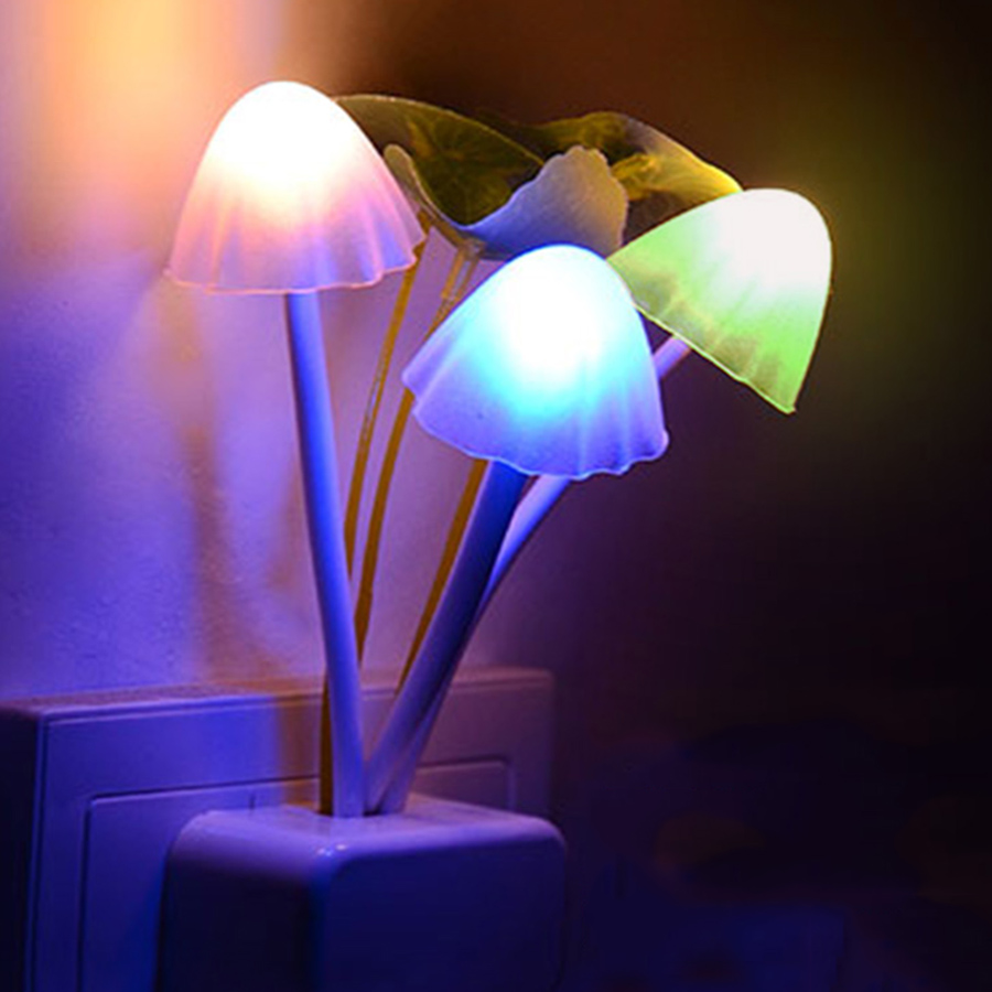 Thrisdar EU US Plug Mushroom LED Wall Lamp Novelty Fungus LED Night Light Baby Kids Bedroom Sleeping Light Sensor Night Lamps