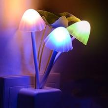 Thrisdar EU US Plug Mushroom LED Wall Lamp Novelty Fungus LED Night Light Baby Kids Bedroom Sleeping Light Sensor Night Lamps
