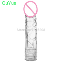 QuYue Newest Sex Products For Men Penis Extension Delay Reusable Penis Sleeve Cock Ring Extender Condoms