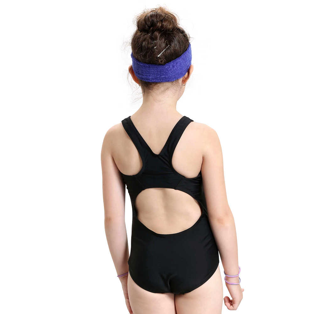 58de026b6b1fd ... Children Girl One piece swimsuit Splice Racerback Print Young Girl  Swimwear Toddler Swimming Suit Athletic Sport ...