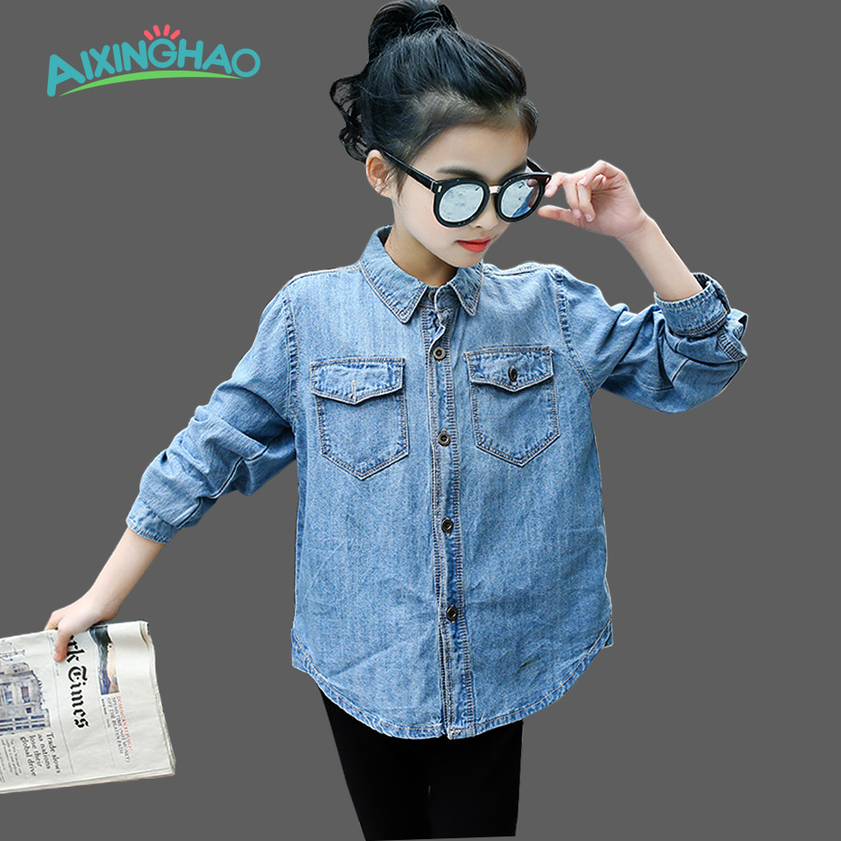 Aixinghao Girls Denim Blouses Cute Girl Shirt Long Sleeve Autumn Children Clothing Teenage Girls School Uniform