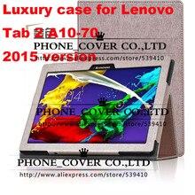 Imán stand case cubierta de cuero del tirón de lujo para lenovo tab 2 A10-70F A10-70L A10 tableta de 70 casos protectores de pantalla + + stylus