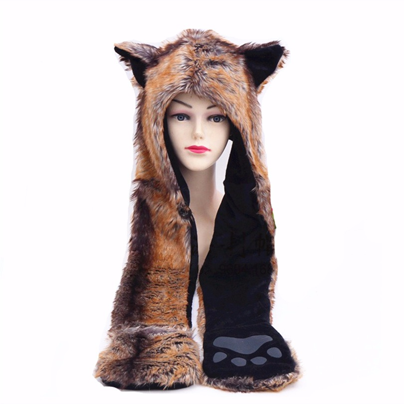 2017 new red wolf  hoods cute animal faux fur hat cap winter hat female imitation wolf fur hat with one cartoon scarves guitar wolf red idol