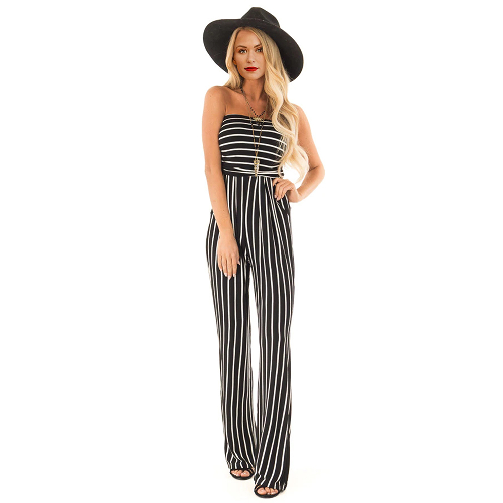 MQUPIN Black White Striped Sleeveless Jumpsuit Off The Shoulder Strapless Full Length Playsuit Straight Fashion Chic Bodysuit