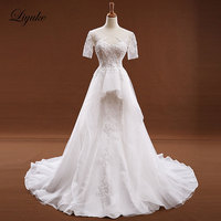 Verbazingwekkende Elegante Korte Mouw Ivoor Kleur A-lijn Jurk Hof Trein Speciale Gelegenheid Bruid Jurk robe de mariage