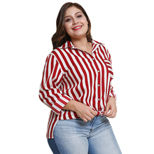 Plus Size Women's Vertical Striped Casual Blouse