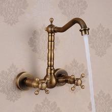 Бесплатная доставка продвижение античная латунь ванной бассейна кран античная кран ручки смеситель