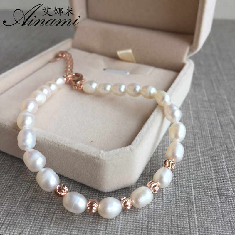 [Ainami] Charm Pearl Bracelet rice Pearl Bracelets Natural Freshwater Pearl Jewelry For Women Gift or girls gift Free shipping