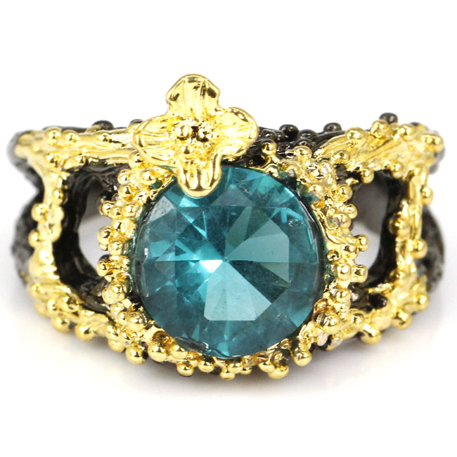8.0# Vintage Round Rich Blue Aquamarine Black Gold 925 Silver Ring 17x14mm