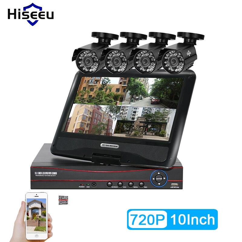 Hiseeu 4CH AHD 720P 960P CCTV System 10 Inch Displayer DVR Bullet CCTV Camera Home Security