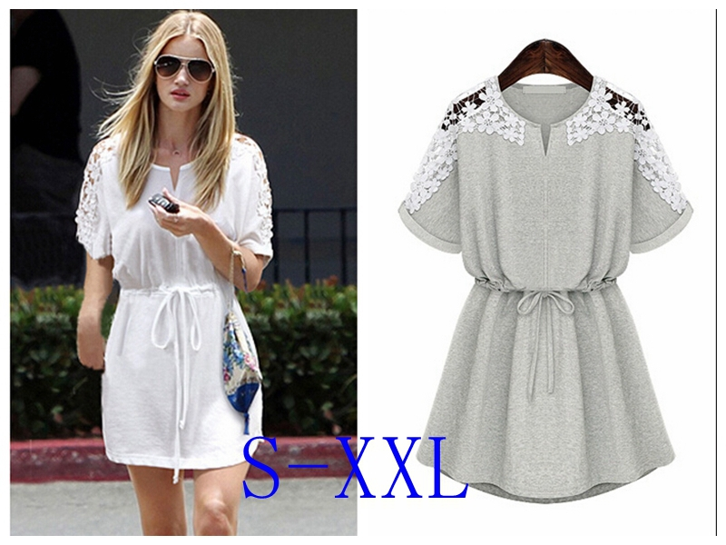 Women Summer Casual Cotton Dress Sexy White Lace Dresses New 2015 ...