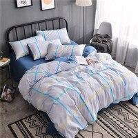 Small White Fresh Blue Large Plaid Pattern Textile New Product Cotton 3 4 Pcs Bedding Set