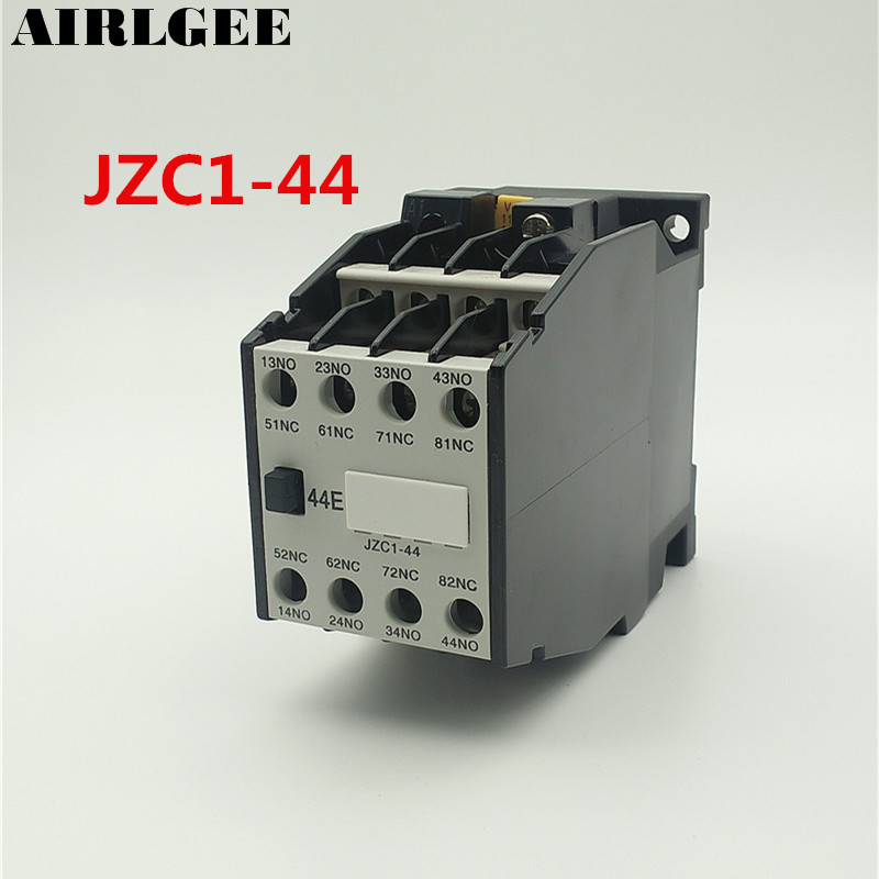 JZC1-44 AC Contactor Type Relay 110V 50Hz Coil Voltage 3-Phase 4NO + 4NC 1set my4nj dc 12v coil 4no 4nc green led indicator power relay din rail 14 pin base mini relay