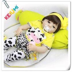 57 cm Reborn Baby Dolls Full Body Silicone 23'' Lifelike Babies Doll Toy For Toddler Realistic Boneca Reborn Menina Gifts