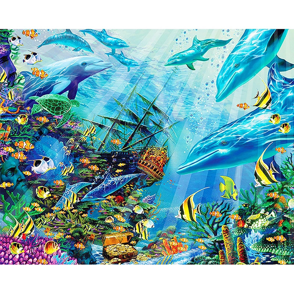 DIY 5D Full Diamond Painting Cross Stitch The underwater world Mosaic Diamond Embroidery Needlework Patterns Rhinestone kits
