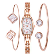 3pcs/set Women Watches Luxury Brand Watch Bracelet Dropshipping 2019 Diamond Ladies Wrist Watches For Women Quartz Clock Hours(China)