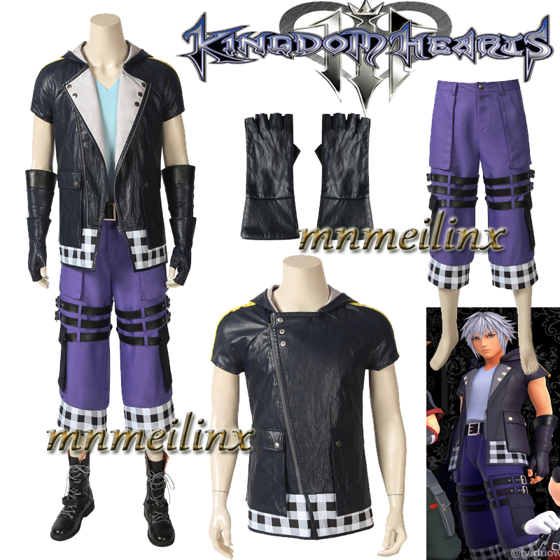 Game Kingdom Hearts 3 Riku Cosplay Costume Sora Uniform Customize Suit Halloween Outfit Full Set Custom Made Boots Leather Coat