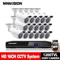 Дома 16CH видеонаблюдения Камера комплект День Ночь 1200TVL SONY CCD белый Камера с 16 канальный DVR комплект видеонаблюдения системы