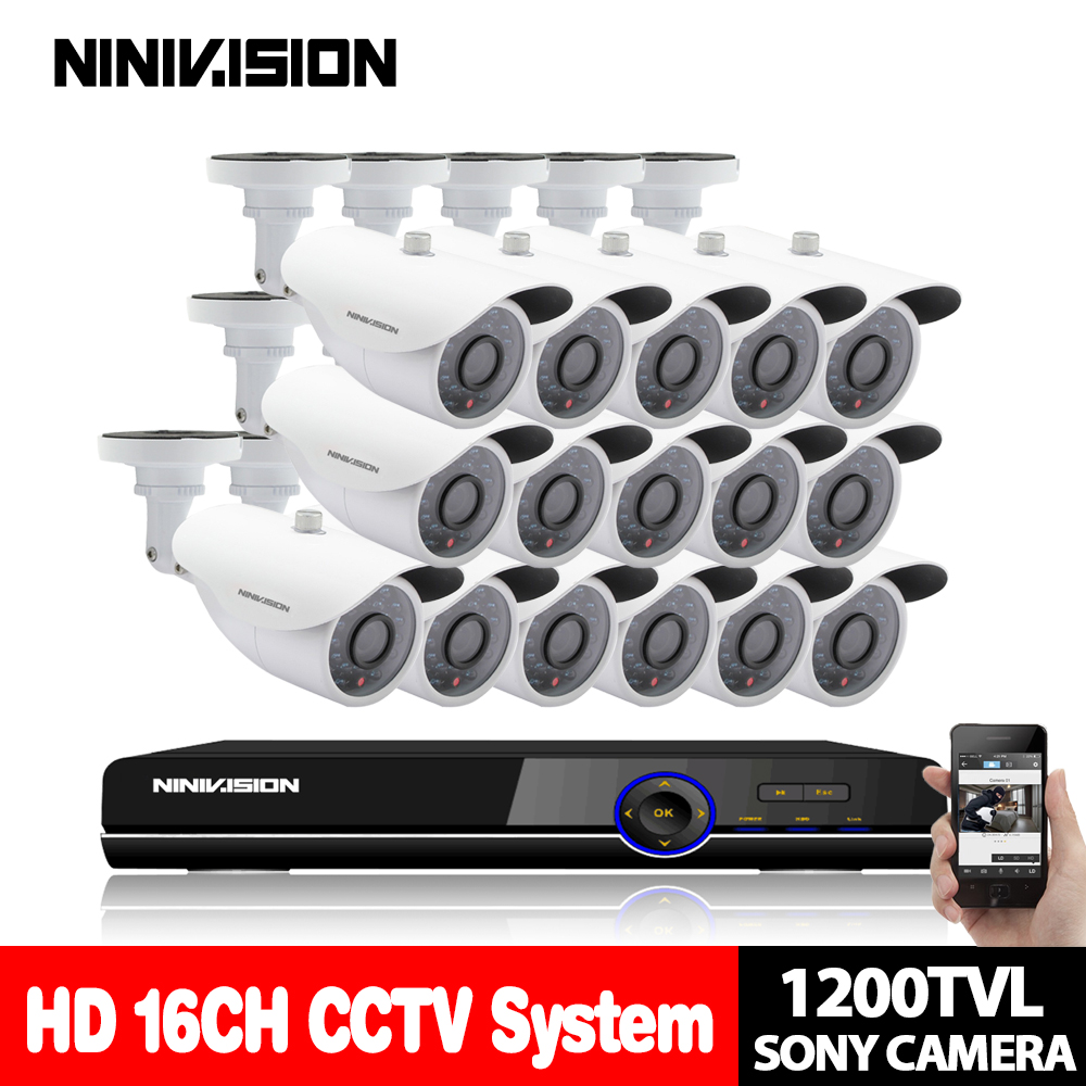 Home 16CH CCTV Security camera set day night 1200TVL SONY CCD White Camera with 16 channel DVR Kit Video Surveillance System 1 3 ccd waterproof surveillance security camera with 42 led night vision white dc 12v