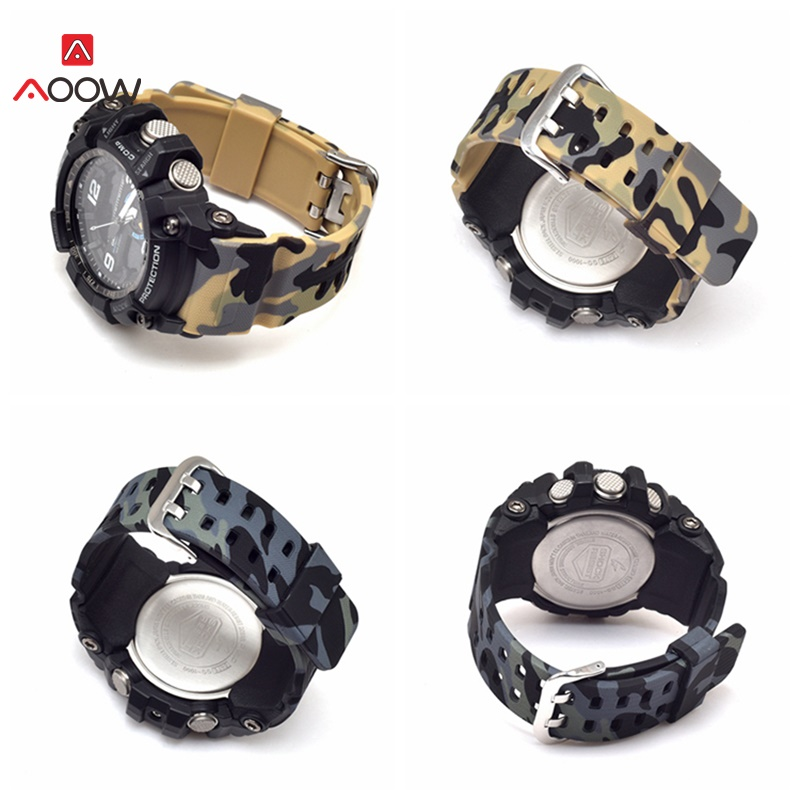 AOOW Watchband for Casio GG-1000/GWG-100/GSG-100 G-Shock Camouflage Rubber Watch Strap Bands Waterproof Sport Watch Belt image