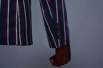 PYJTRL Brand Men\'s Fashion Blue Stripe Blazer Pants Two Piece Groomsmen Wedding Suit Mens Suits Latest Coat Pant Designs 2018