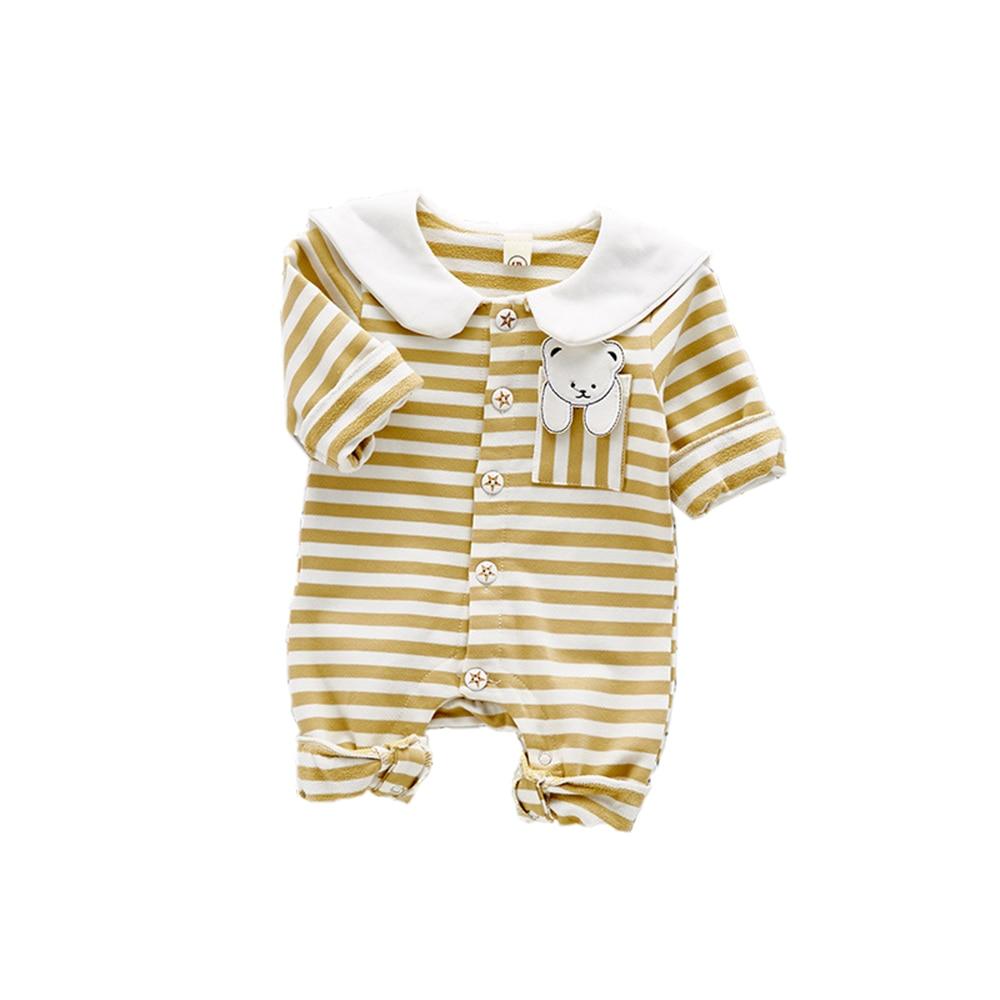 Baby Boys Girls Romper Stripes Long Sleeves Cartoon Tiger Collar Bear on Pocket