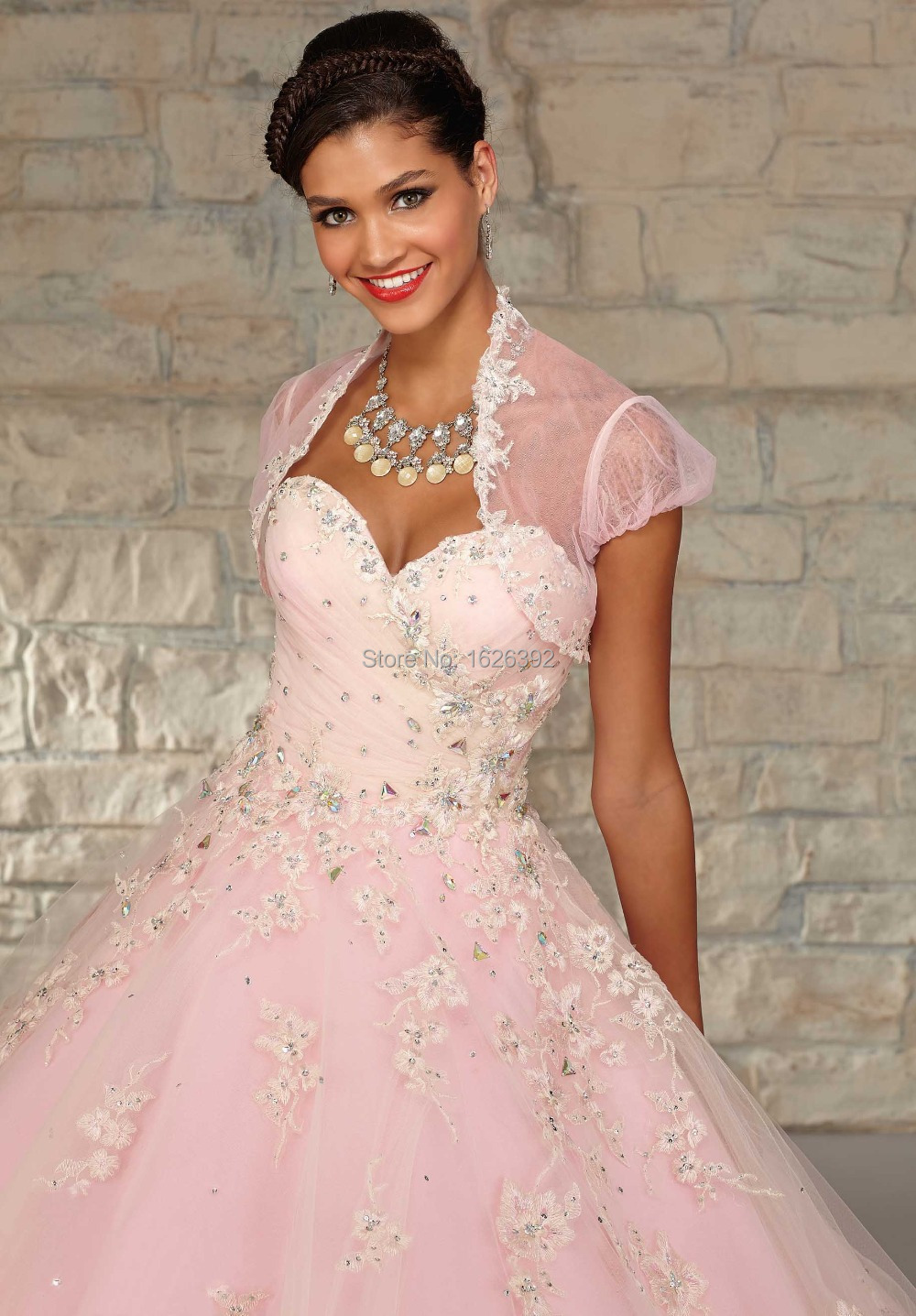 Beautiful Lace Appliques Quinceanera Dresses Ball Gowns Tulle Floor ...