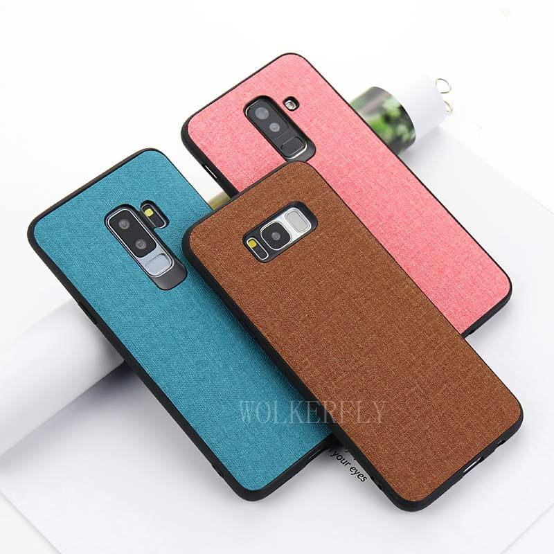 <font><b>Cloth</b></font> Texture <font><b>Case</b></font> for <font><b>Samsung</b></font> galaxy A9 A6 S <font><b>A8</b></font> S10 J4 J6 Plus J8 A7 <font><b>2018</b></font> J3 J5 J7 2017 S7 Edge Note 8 9 S8 S9 Plus Soft <font><b>Cases</b></font> image