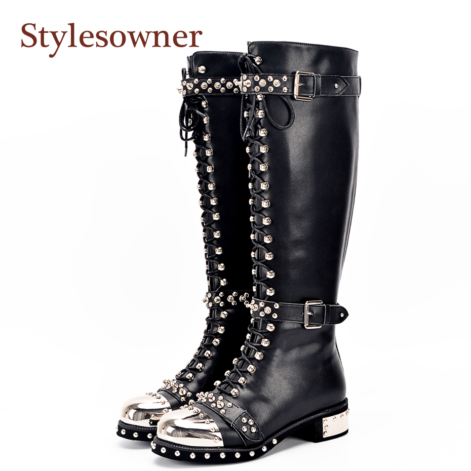Stylesowner Genuine Leather Metal Round Toe Punk Style Women Knee High Boots Rivet Belt Buckle Motorcycle Boots Women Size 34-43 2018 spring street flat genuine leather rivet women shoes high quality punk style hip hop round toe buckle high top sneakers