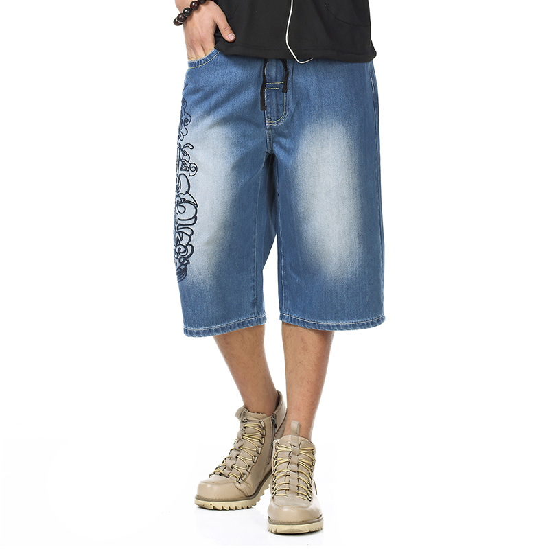brand tops Plus size 46 Mens Calf-Length Pants Casual Blue Lightweight Denim Shorts Jeans Summer Jean hip hop Mens men short