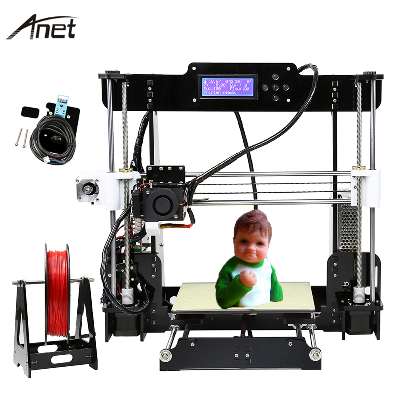 Anet Auto Leveling A8 A6 Impresora 3D Printer Reprap i3 Imprimante 3D Printers DIY Kit Aluminium Extruder Heatbed With Filament swmaker reprap prusa i3 anet a8 3d printer auto leveling extruder assembly kit with silicone sock all metal extruder carriage