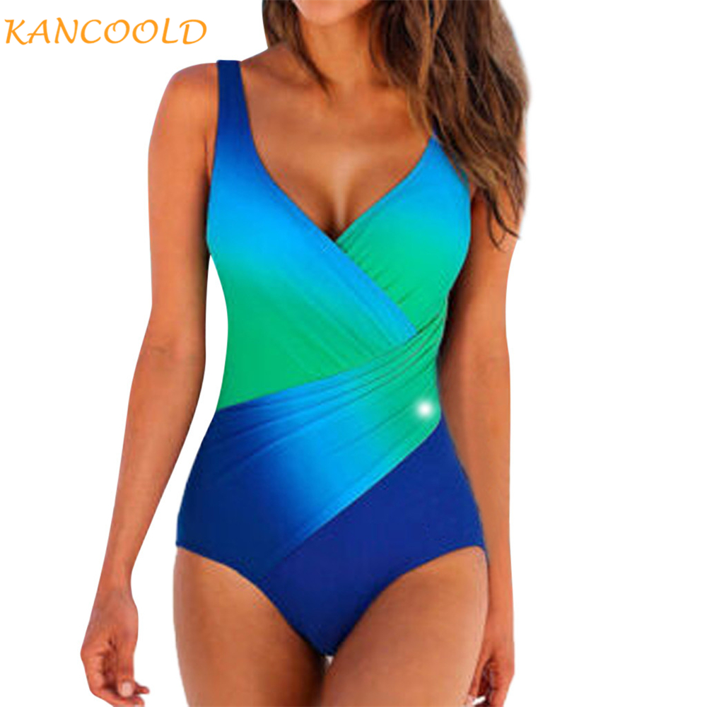 KANCOOLD Women Clothes Sexy Plus Size Swimwear Women Gradient Color Sling Backless One Piece Suits Push-Up Summer Beach Swimsuit(China)