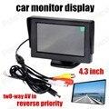 4.3 Pulgadas Pantalla a color TFT LCD monitor del coche pantalla revertir prioridad $ Number Canales De Entrada de Vídeo Soporte de cámara trasera
