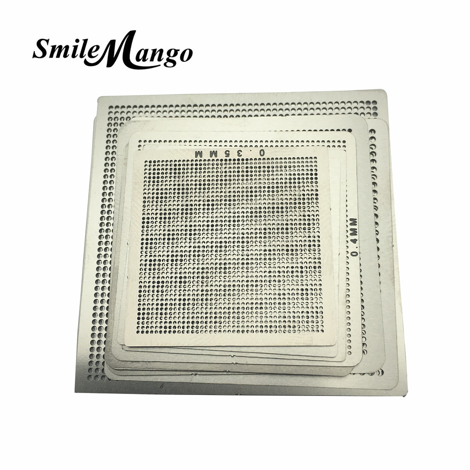 maxgboon 27pcs bga directly heat rework reballing universal stencil template bga reballing kit station Directly Heat BGA Rework Reballing 10pcs Universal Stencil Template IC Sik Tin