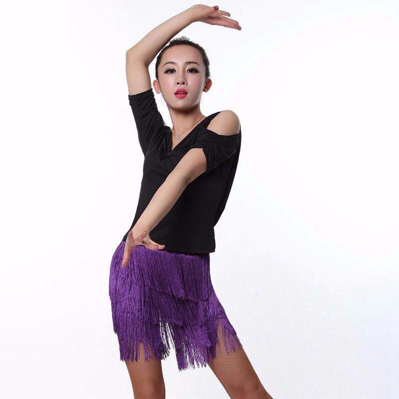 2018 femmes danse latine robe latine frange robe 2015 nouveauté pratique danse femmes gland jupe - 3